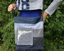 Denim Crossbody Bag / Denim Bag with Lace / Recycled Jeans Bag / Big Crossbody Bag / Shoulder Purse / Denim Handbag