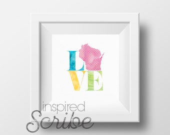 LOVE [your home state] instant print digital print