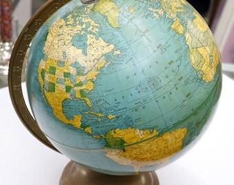 "Vintage Cram's Universal Terrestrial Globe - 10 1/2"" - 1940's"