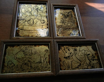 Four Reverse Foil Art in Gold and Black ~  by Stephanie