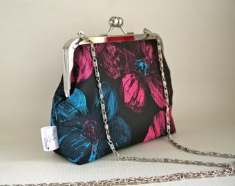 Clutch bag / purse evening bag, special occasion, wedding handmade, floral fabric made by Perfectly Fine Designs