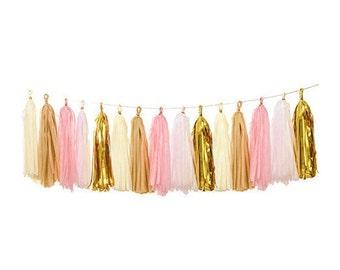 Vintage Pink Tassel Garland Kit, Pink, Latte, Cream & Gold DIY Tassel Garland, Balloon Tail, Hanging Decor, Engagement Party, Boho Party
