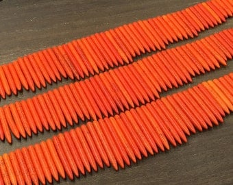 Orange Howlite Turquoise Points Beads Long Spike Stick Beads Pendants Graduated Magnesite Turquoise Necklace 18 inches