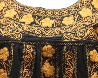 Golden Angula Black embroidery blouse t