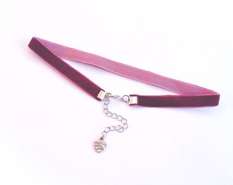 Velvet Choker Necklace, Plum, Thin, Silver, Cuztomize-able