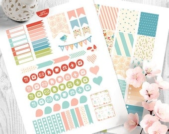Spring Floral Planner Stickers for Erin Condren Life Planner, Weekly Stickers Kit, Printable Planner Stickers, Floral Stickers Kit