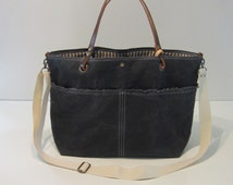 Waxed Canvas Tote Bag, Convertible Shoulder Bag, Leather Handles and Adjustable Crossbody Strap