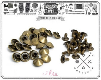 100/150PCS 9MM ANTIQUE BRASS CONICAL round Rivets Rapid Snap.