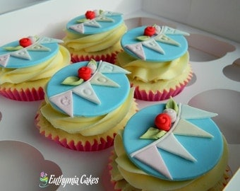 Cupcake toppers with letters names birthday get well soon bunting any colour