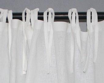 White Linen Curtain-White Linen Curtain with ties-Linen Window Curtain Panel-Window Curtains-Window Treatments -Custom length x 55''(140cm)