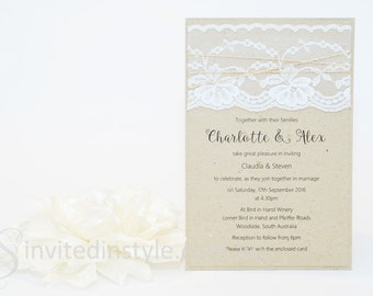 Rustic, Vintage Lace Wedding Invitation with reverse pocket to hold all included accessories - PERSONALISED SAMPLE