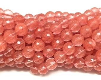 """8mm Faceted Cherry Quartz Genuine Gemstone Full 16"""" Strand (45 Beads)"""
