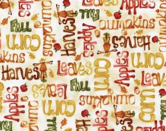 Fall Fabric, Happy Harvest, Harvest Fabrics, Words Fabric, Fabric with words, Fall words fabric, Harvest words fabric, by Red Rooster, 4277
