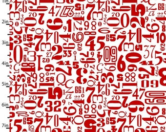 Rush hour, Red Tossed Numbers, Number fabric, Fabric with Numbers, by Studio E, 2775-08