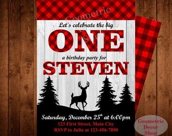 Buffalo Plaid Lumberjack Birthday Party Invite First Birthday Wilderness Plaid Lumber Jack Invitation TIMBER Camping baby shower #BDLJ3