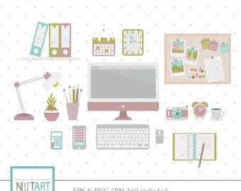 Office clipart , Desk clipart, vector graphics, study room clip art, digital clip art, digital images -  CL 115