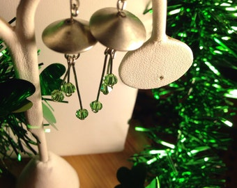 Green Saucer Earrings