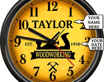 Personalized Woodworking Carpenter Shop Dad's Father's Day Husband's Your Name Sign Wall Clock