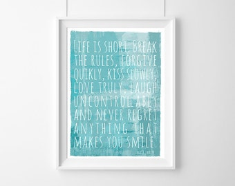 Poster quote Mark Twain: Life is short, Decor, Quote, Inspirational, Gift Idea,Typography Poster,Gift,live Quote, Inspirational, Gift Idea,