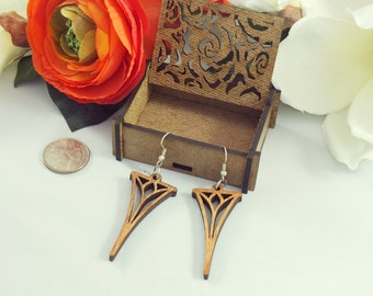 Laser cut wood earings #2