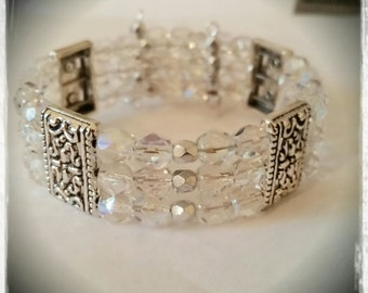 Tibetan Style Crystal Clear AB and Silver 3 Strand Beaded Memory Wire Bracelet size 7 to 8 inches