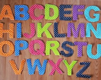 fabric alphabet letters rag letters educational learning tools teachers aid preschool homeschool montessori hands on education