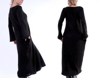 Oversize Dress/ Black Plus Size Dress/ Maxi Black Dress/ Knitted Dress/ Maxi Kaftan/ Long Sleeve Dress/ Full Dress/ Long Dress/ Black Caftan