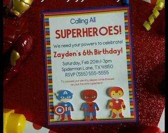 10 (3D)Superhero Invitations,  Comic Invitations, Baby Shower Invitation