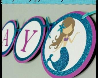 Gitter Mermaid Happy Birthday Banner, Mermaid Name Banner, Mermaid Babyshower Banner