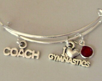 I Love GYMNASTIC / Coach  w/ Birthstone Adjustable Bangle / Gift For Her / Under Twenty  Usa Sp1