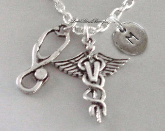Veterinarian / Stethoscope Chain NECKLACE  W/ Silver initial  / Grad. Gift  Nurse  Necklace / Gift For Her / Under 20  Usa  NK1