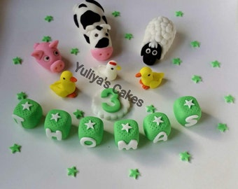 Edible farm animals cake topper,name blocks,cow,sheep,pig,duck,chicken,handmade,birthday,christening,baptism