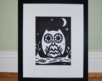 Owl lino print - Framed, by UpsideBrown