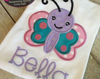 Butterfly Applique Shirt or onesie! Personalized!