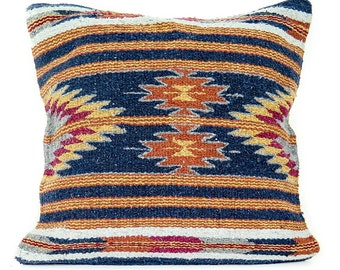 Native American Geometric Accent Pillow   Navy Blue Diamond Boho Man