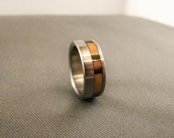 Black and White Ebony wood, titanium ring, titanium and wood rings, wood inlay, exotic hardwood, wedding bands, wedding rings