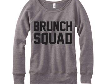 Brunch Squad, Wideneck Fleece Sweatshirt, Metallic Gold, Silver, Glitter And Neon Print,