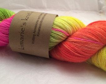 Hand Dyed Yarn, Fluorescent Sock Yarn_ 1984