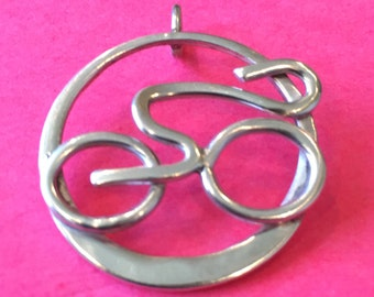 sterling silver cyclist pendant