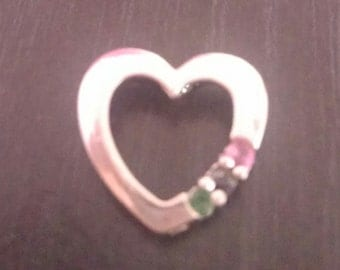 Stunning Stamped 925 Sterling Silver Heart Pendant with Ruby, Sapphire and Emerald