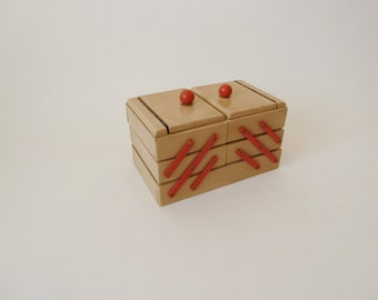 Small wooden sewing box, vintage sewing box, Schneider covers, shabby chic