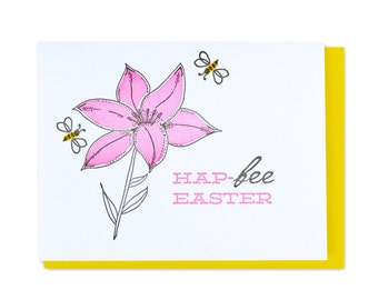 Bee & Lily Easter Letterpress Card
