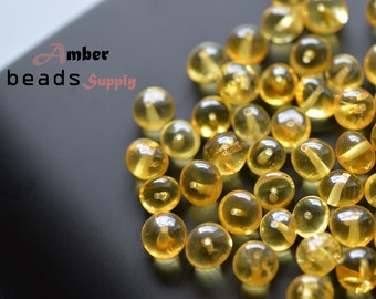 Lemon Baltic amber beads. Baroque amber style. Polished, drilled holes ~1 mm. 50 Pieces. For Jewelry Making. Loose Beads. #5850