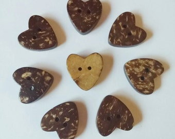 """3/4"""" Coconut Heart Buttons x 8, Valentines Day, Love"""