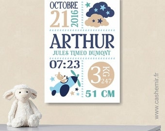 Birth stats print boy baby gift birth stats wall art personalized birth announcement nursery wall art decor date baby name art - n97