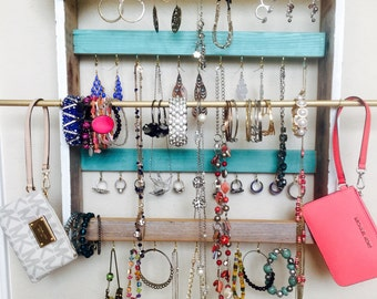 Jewelry holder, wall jewelry holder with bar, jewelry display mounted