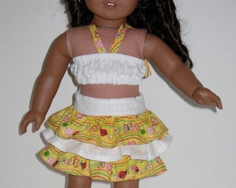 American Girl Clothes Yellow-White Ruffle Skirt & Halter Top Set