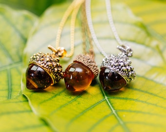 Acorn Amber Necklace