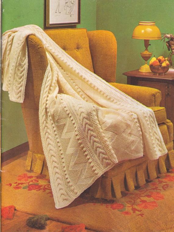 Aran Afghan Knitting Patterns : 301 PDF Vintage Aran Afghan Knitting Pattern Fishermans