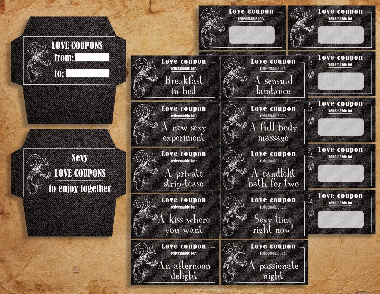 denim instant download printable sexy love coupons book